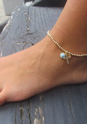 anklet gold cross and eye