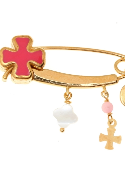 Brooche-silver-925-yellow-gold-plated-with