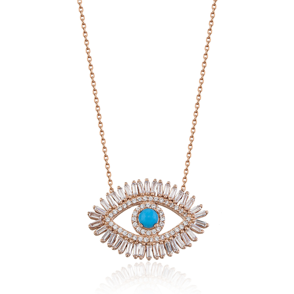 Baguette evil eye necklace rose gold opa designs sterling silver baguette stones arround with turquoise eye aloadofball Images
